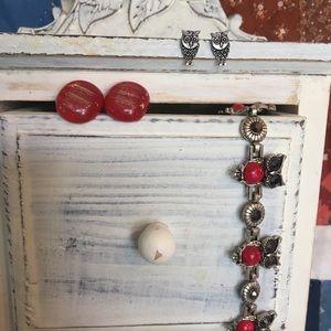 Owl Bracelet Post Earrings Red Jewelry Lot